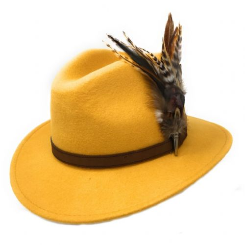 Yellow Fedora Hat with Country Feather Brooch - Bourton